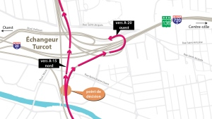 A new configuration of the Turcot Interchange opens on the morning of Tues., Sept. 4, 2018, and includes new ramps to Highways 15 North and 20 West. (Graphic: Transport Quebec)
