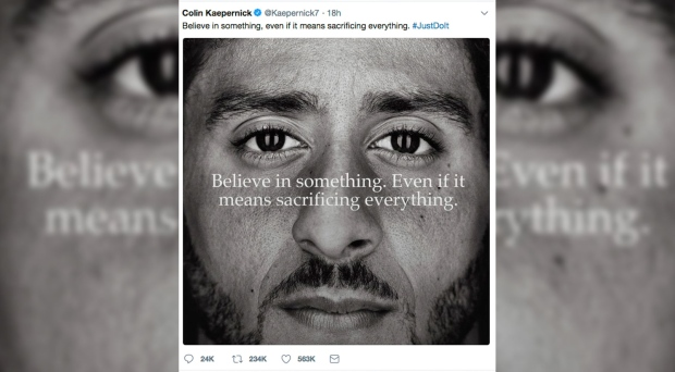 Nike unveils Kaepernick ad to air during National Football League season opener