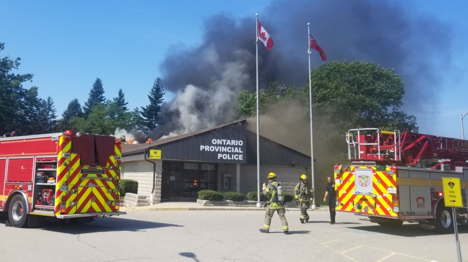 Fire crews responding to a fire at the Ontario Provincial Police branch in Cambridge.