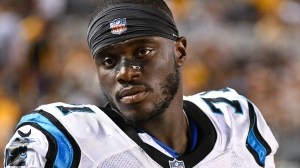 In this Aug. 30, 2018, file photo, Carolina Panthers defensive end Efe Obada (71) looks on from the sideline during an NFL preseason football game against the Pittsburgh Steelers, in Pittsburgh. (AP Photo/Don Wright)