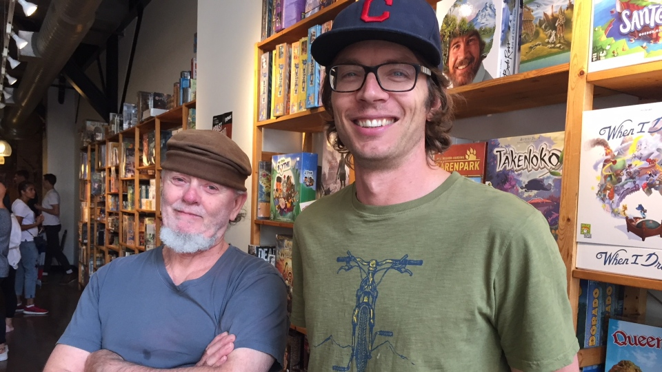 Jack Pinder (left) and Bill Heaton (right) own Victoria's Interactivity Board Game Cafe and say business is booming. Aug. 29, 2018. (CTV Vancouver Island)
