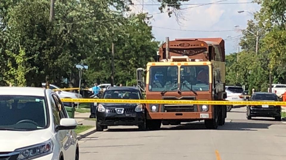 The scene of a collision near Twenty Sixth Street and Elder Avenue in Etobicoke. (Peter Muscat)