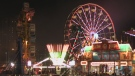 Night time shot of the midway at Western Fair
