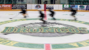 Players from team black skate down the ice during the first day of the Humboldt Broncos training camp at Elgar Petersen Arena in Humboldt, Sask. on Friday, August, 24, 2018. (THE CANADIAN PRESS/Kayle Neis)