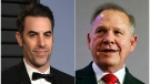 This combination photo shows Sacha Baron Cohen, left, at the Vanity Fair Oscar Party in Beverly Hills, Calif. on March 4, 2018, and former Alabama Chief Justice and U.S. Senate candidate Roy Moore at a news conference in Birmingham, Ala., on Nov. 16, 2017. (AP Photo)