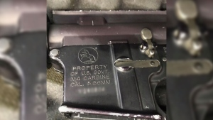 A gun that was mailed to a Bombardier facility in Toronto is seen here. Four guns were included in the unlocked case, which arrived on Aug. 30, 2018.