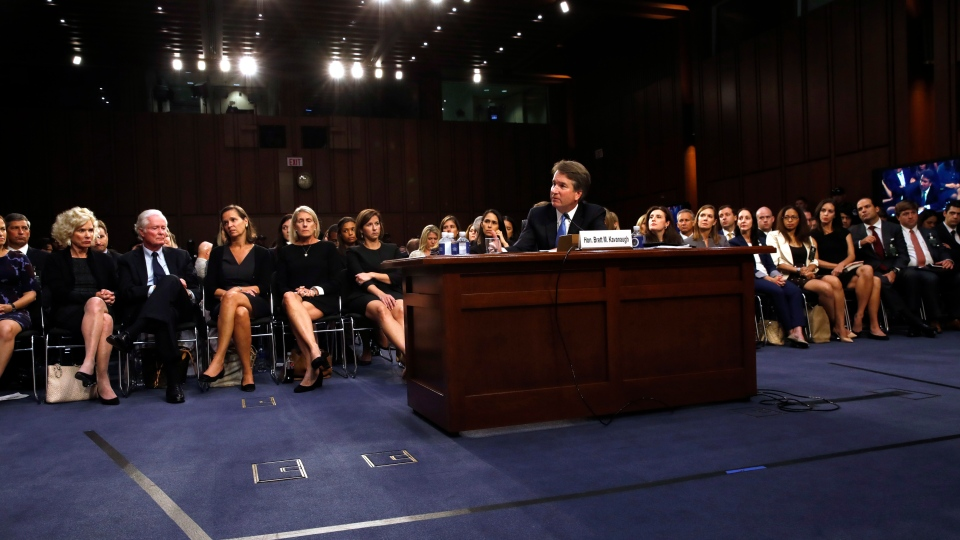 President Donald Trump's Supreme Court nominee, Brett Kavanaugh, is questioned in the evening on the second day of his Senate Judiciary Committee confirmation hearing, Wednesday, Sept. 5, 2018, on Capitol Hill in Washington, to replace retired Justice Anthony Kennedy. (AP Photo/Jacquelyn Martin)