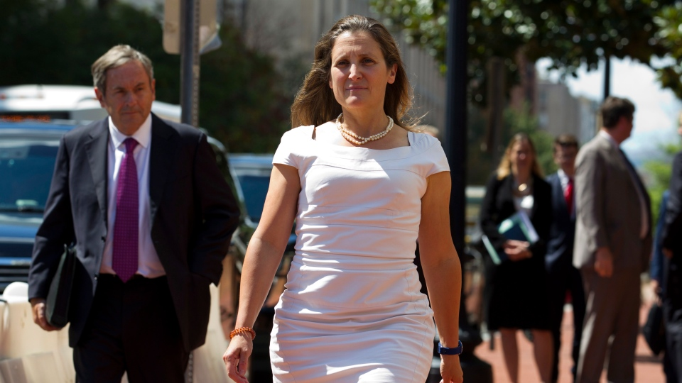 Canada's Foreign Affairs Minister Chrystia Freeland arrives for trade talks at the Office of the United States Trade Representative, Friday, Aug. 31, 2018, in Washington. (AP Photo/Jose Luis Magana)