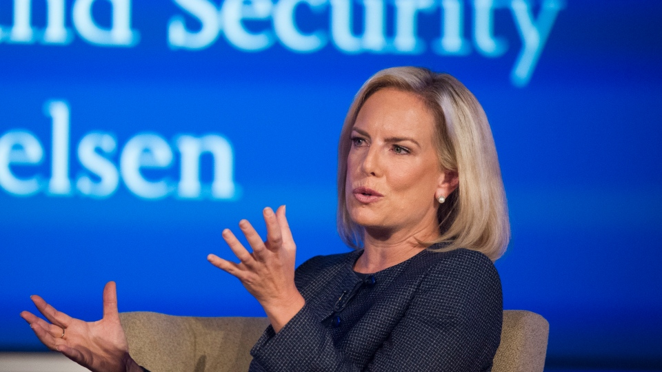 U.S. Secretary of Homeland Security Kirstjen Nielsen speaks to George Washington University's Center for Cyber and Homeland Security, in Washington, Wednesday, Sept. 5, 2018. (AP Photo/Cliff Owen)