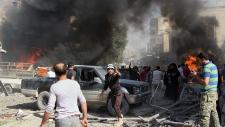 Airstrike hits market in Idlib, Syria