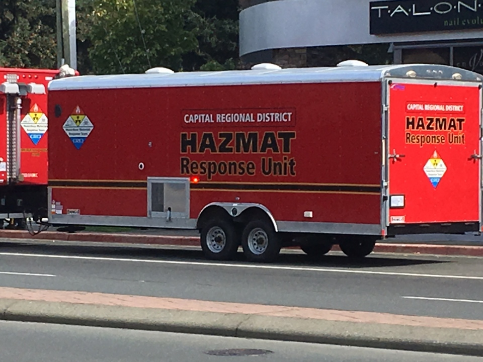 Hazmat crews and first responders were called to the law firm after an employee was reportedly sent a threatening message with an envelope that contained white powder. Sept. 7, 2018. (CTV Vancouver Island)