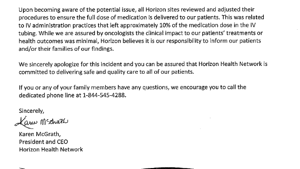 Part 2 of a letter sent to patients about improper chemotherapy treatment dosages.