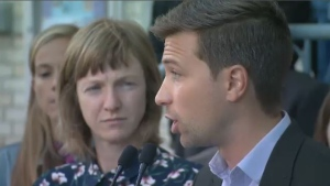 Quebec Solidaire co-spokesperson, Gabriel Nadeau-Dubois, flanked by Catherine Dorion, candidate for Taschereau, presented the party's improved cultural policy in Quebec City on Friday. (CTV Montreal)
