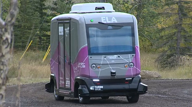 ELA is a driverless vehicle that drives using sensors and a GPS system. It is being run on a pilot program, taking passengers back and forth between the Calgary Zoo and TELUS Spark.