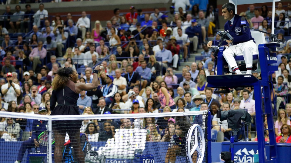 Serena Williams argues with chair umpire Carlos Ramos during a match against Naomi Osaka, of Japan, in the women's final of the U.S. Open tennis tournament, Saturday, Sept. 8, 2018, in New York. (AP Photo / Julio Cortez)