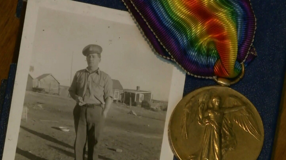 Private Ronald Campbell MacDonald and his Victory Medal are seen together in Amherst, N.S. (CTV Atlantic)