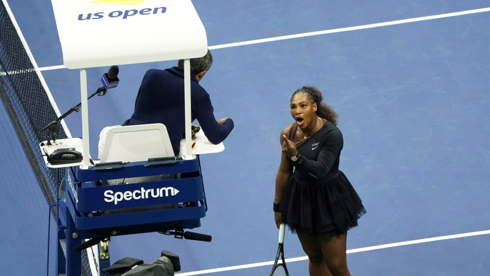 Serena Williams' dispute with the chair umpire during the 2018 U.S. Open final is the latest issue she's had with match officials at the Grand Slam tournament.Serena Williams argues with the chair umpire during a match against Naomi Osaka on Sept. 8, 2018.
