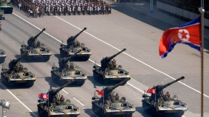 North Korean artillery roll past during a parade for the 70th anniversary of North Korea's founding day in Pyongyang, North Korea, Sunday, Sept. 9, 2018. North Korea staged a major military parade, huge rallies and will revive its iconic mass games on Sunday to mark its 70th anniversary as a nation. (Kyodo News via AP)