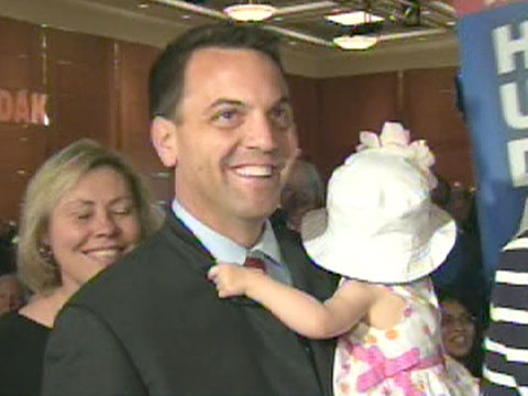Tim Hudak celebrates his election as the new leader of Ontario's Progressive Conservatives with supporters in Markham, Ont. on Saturday, June 27, 2009.