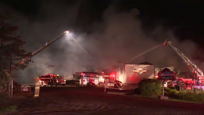 As many as 110 firefighters responded to a fire at a Listowel sawmill on Sunday.
