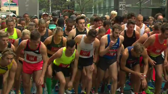 A Kitchener man set the Canadian record for the New Balance 5K Championship