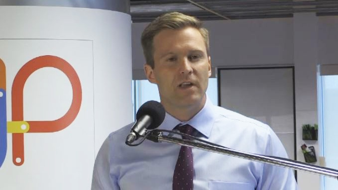 New Brunswick Liberal Leader Brian Gallant makes a campaign stop in Fredericton on Sept. 10, 2018.