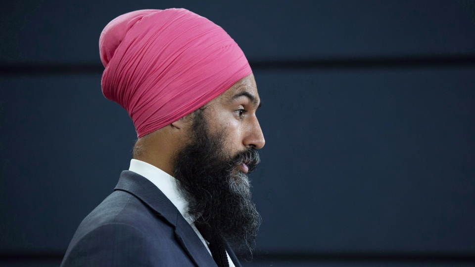 NDP Leader Jagmeet Singh speaks with the media during a news conference in Ottawa, Thursday August 30, 2018. THE CANADIAN PRESS/Adrian Wyld