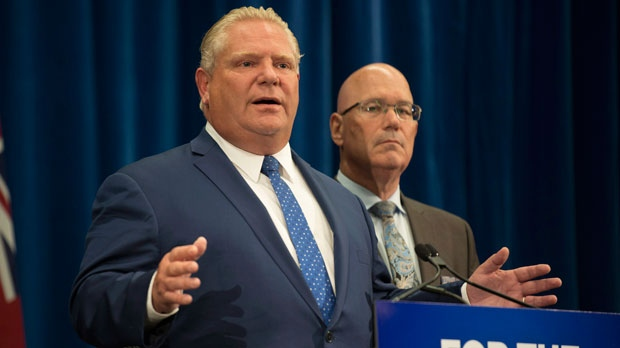 Ontario Premier Doug Ford speaks to reporters with MPP Steve Clark, Minister of Municipal Affairs and Housing, in Toronto, on Monday, September 10, 2018. THE CANADIAN PRESS/Christopher Katsarov.