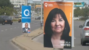 Campaign posters in Laval des Rapides. (CTV Montreal)