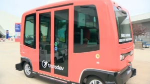 The self-driving shuttles are adapted for wheelchairs and strollers, and operate on a route that's pre-programmed. (CTV Montreal)