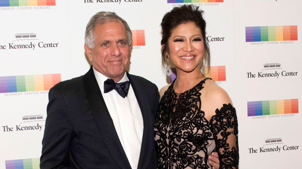 In this Dec. 2, 2017 file photo, Les Moonves, left, and his wife Julie Chen arrive for the Kennedy Center Honors gala dinner in Washington. (AP Photo/Kevin Wolf, File)