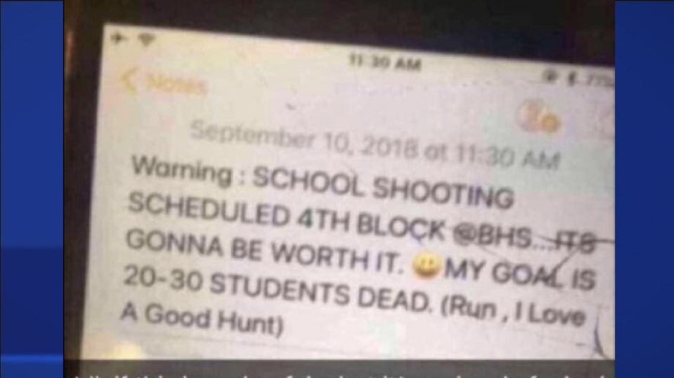 "This post was reportedly received via AirDrop by dozens of students at Brunswick High School in Glynn County, Georgia, earlier this week. It caused a stir on the West Island of Montreal, when officials at Beaconsfield High School were notified of a mass shooting threat made against ""BHS."" (CTV Montreal)"