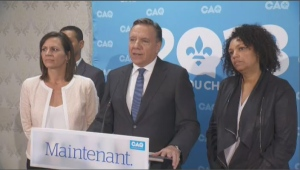 CAQ leader Francois Legault makes an announcement on Tuesday. Sept 11. (CTV Montreal)
