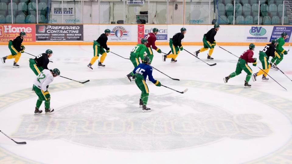 Members of the Humboldt Broncos take part in a team practice Tuesday, Sept.11, 2018. The Broncos will host the Nipawin Hawks during the season home opener. THE CANADIAN PRESS/Jonathan Hayward