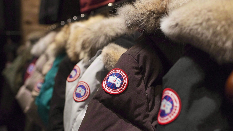 Jackets are on display at the Canada Goose Inc. showroom in Toronto on Thursday, November 28, 2013. (THe CANADIAN PRESS/Aaron Vincent Elkaim)