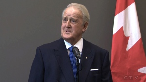 Brian Mulroney speaks to reporters in Ottawa, Tuesday, Sept. 11, 2018. (CTV/File)