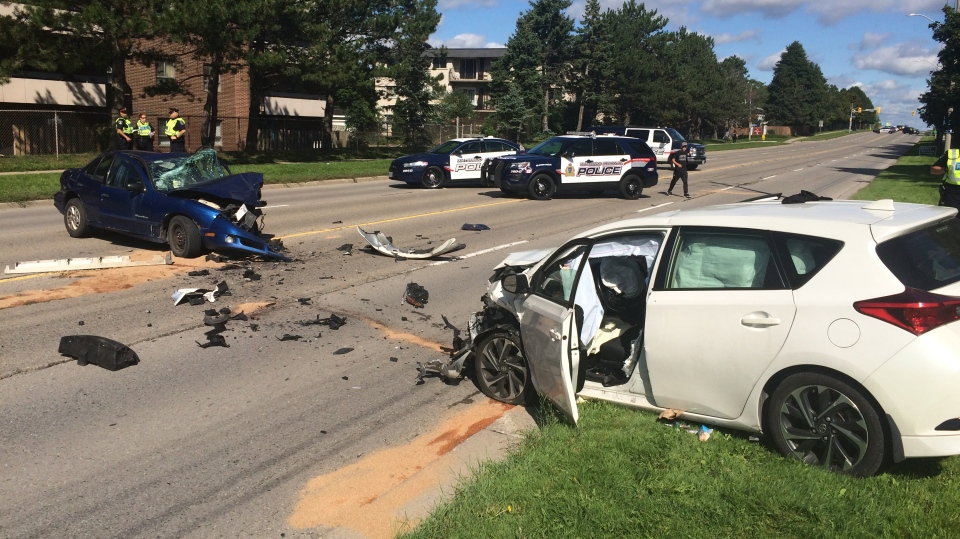 Waterloo Regional Police say one passenger was taken to hospital after a head-on crash in Kitchener September 11, 2018.