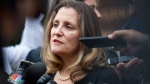 Canadian Foreign Affairs Minister Chrystia Freeland speaks to the media as she arrives at the Office Of The United States Trade Representative, Tuesday, Sept. 11, 2018, in Washington. (AP Photo/Carolyn Kaster)