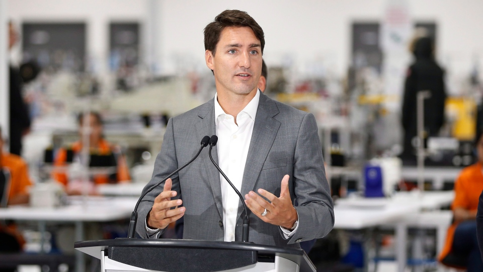 Prime Minister Justin Trudeau speaks during a press conference at a new 700 employee Canada Goose manufacturing facility in Winnipeg, Manitoba Tuesday, September 11, 2018. THE CANADIAN PRESS/John Woods
