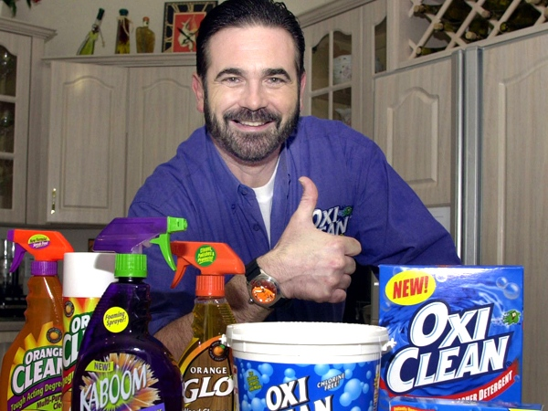 TV pitchman Billy Mays poses with some of his cleaning products at his Palm Harbor, Fla., home, on Dec. 6, 2002. (AP / Chris O'Meara)