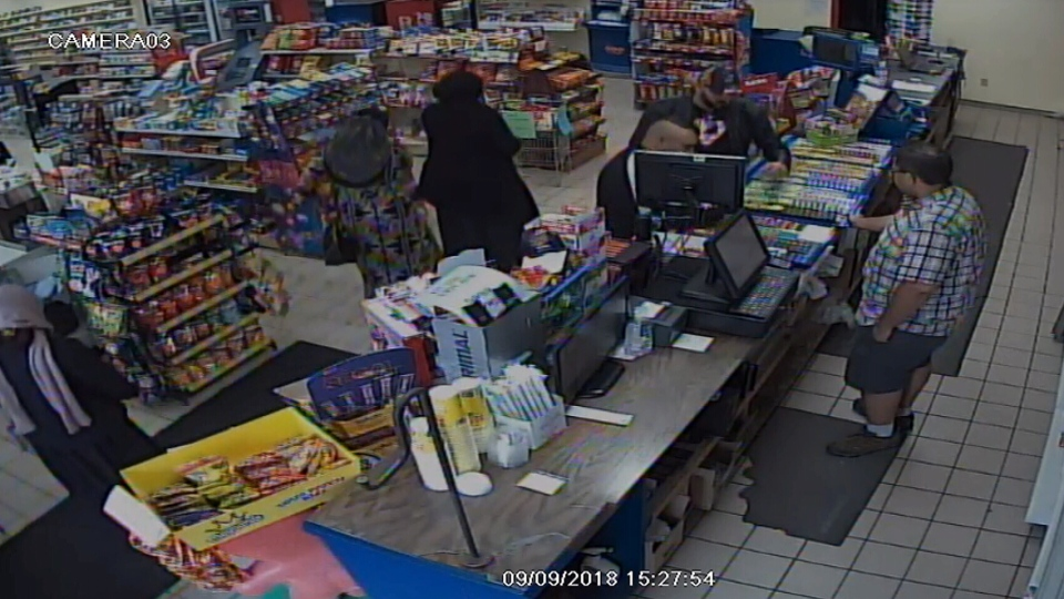 Surveillance cameras capture a distraction theft at Charlie Brown's Variety in Cookstown, Ont.