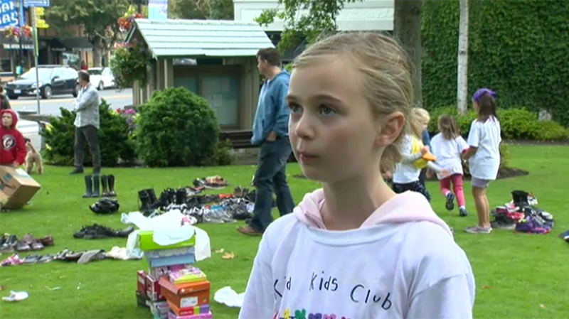 Eight-year-old Chloe Cameron says she was inspired to start her charitable kids group after seeing homeless people sleeping downtown and wanting to help. Sept. 9, 2018. (CTV Vancouver Island)
