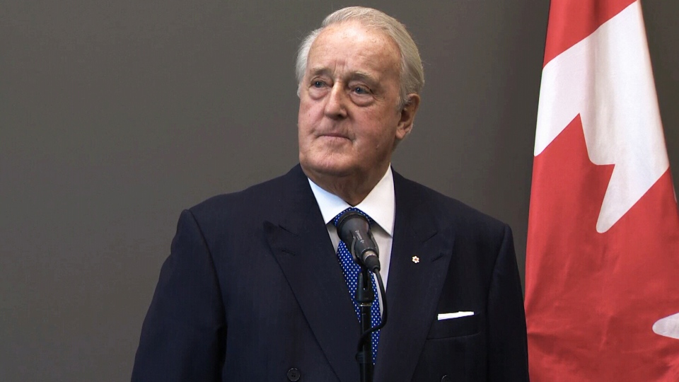 Former prime minister Brian Mulroney speaks to reporters on Tuesday, Sept. 11, 2018.