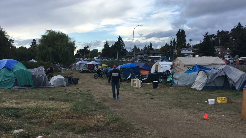 Campers at Regina Park were expected to move by a 7 p.m. deadline Tuesday before the encampment is torn down, but two hours before deadline, not much movement had occurred. Sept. 11, 2018. (CTV Vancouver Island)