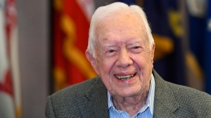 In this April 11, 2018 file photo, former President Jimmy Carter, 93, sits for an interview before a book signing in Atlanta. (AP Photo/John Amis)
