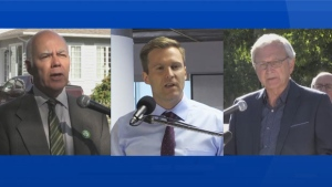 New Brunswick Green Leader David Coon, New Brunswick Liberal Leader Brian Gallant, and New Brunswick Progressive Conservative Leader Blaine Higgs are seen.