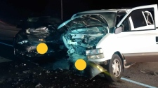 Two vehicles after a serious crash