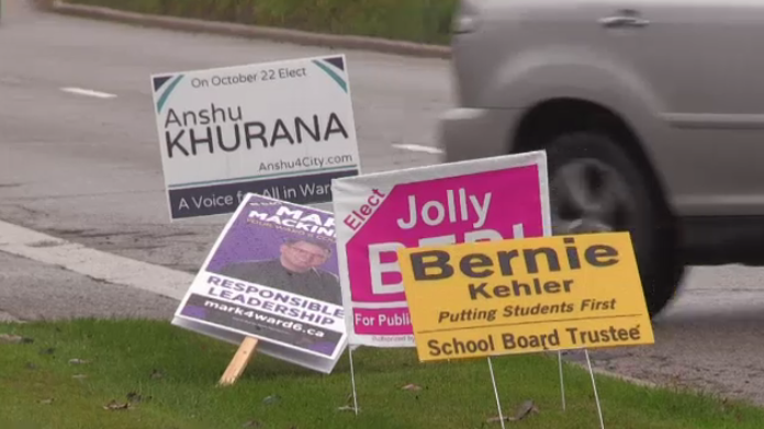 Two mayoral candidates in Guelph are taking different approaches to reducing sign waste.