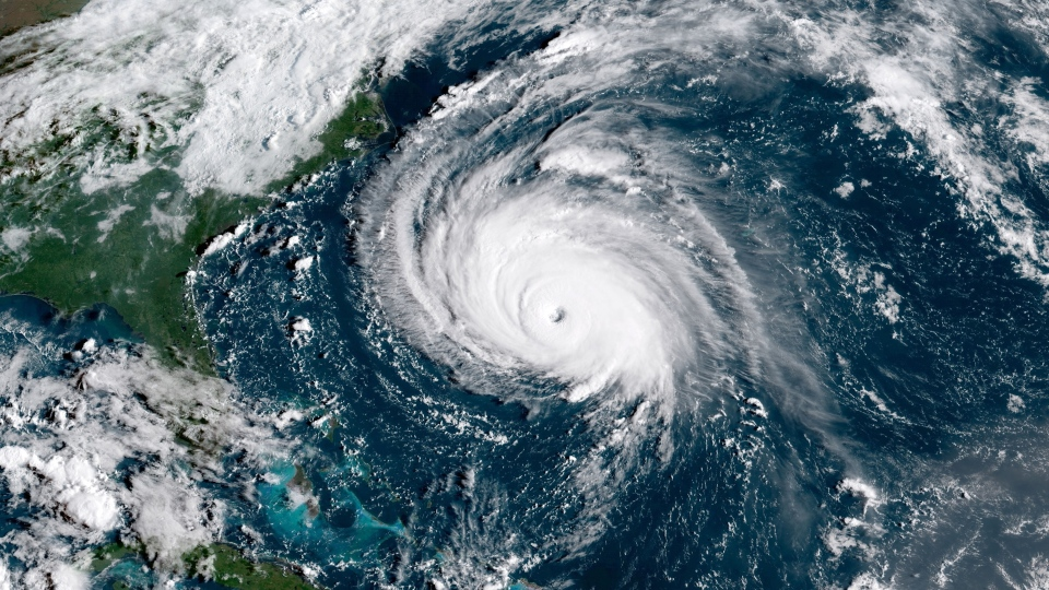 Hurricane Florence is seen churning in the Atlantic Ocean at 8:45 a.m. ET on Wednesday, Sept. 12, 2018. (NOAA)