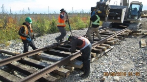 Crews working their way north to repair washed-out rail line to
